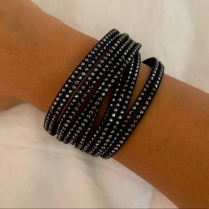 Swarovski Crystal Wrap Bracelet in Black